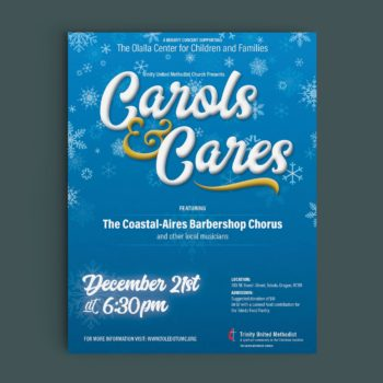 This is a mockup of the Carols and Cares benefit concert for the Olalla Center for Children and Families designed by André Casey.